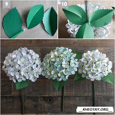 Cách làm hoa cẩm tú cầu giấy