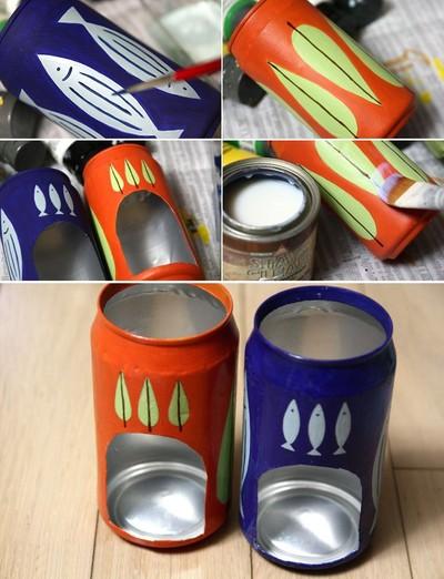Làm đèn trang trí từ vỏ lon bia