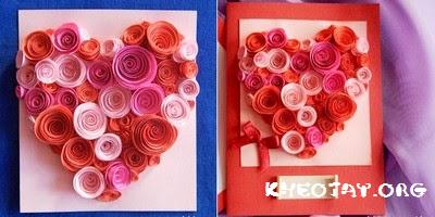 Cách làm thiệp trái tim bằng hoa