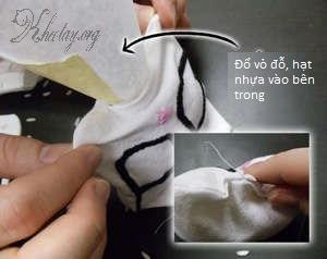 Cách làm gối kê tay dễ thương hình chú mèo