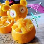 Cách tỉa cam đơn giản tạo thành chú gấu đẹp mắt