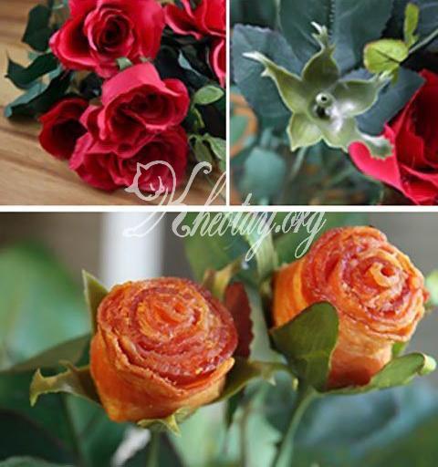 Cách làm hoa hồng đẹp như thật từ thịt ba chỉ