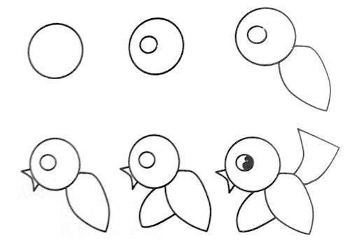 Cách vẽ con chim đơn giản