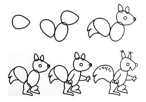 Cách vẽ con sóc đơn giản