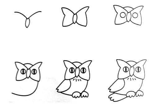Cách vẽ con cú đơn giản