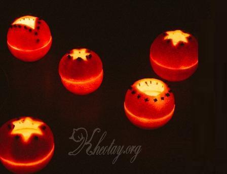 Cách trang trí đẹp với nến từ vỏ cam