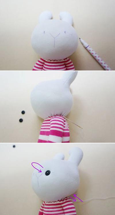 Hướng dẫn làm thỏ bông đơn giản từ tất