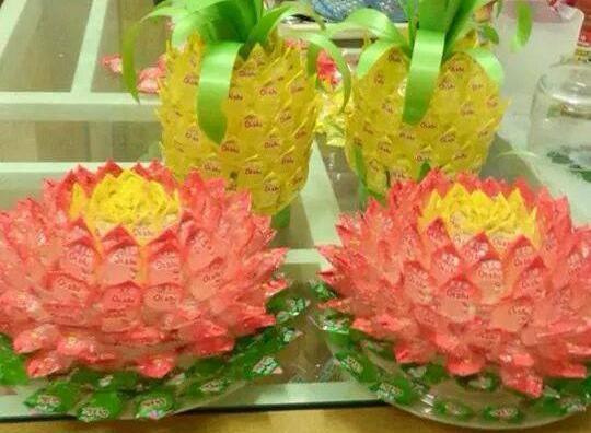 Cách làm hoa sen từ kẹo