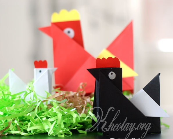 Cách gấp con gà bằng giấy
