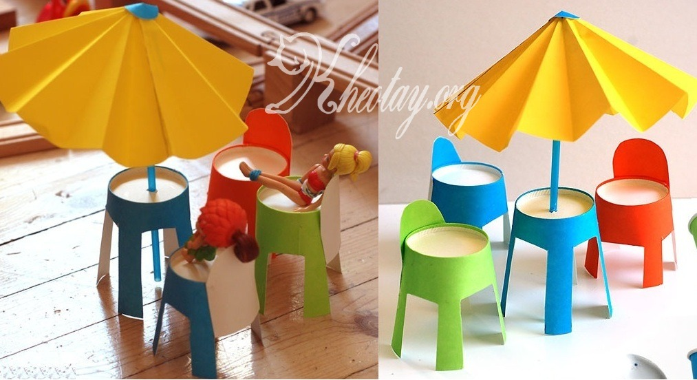 cách làm bàn ghế đồ chơi bằng giấy