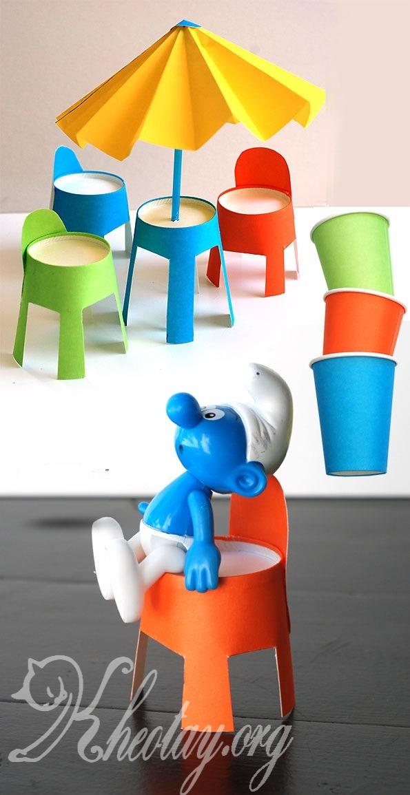 cách làm bàn ghế đồ chơi và làm ô bằng giấy