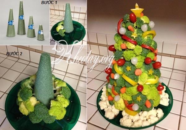 cách làm cây thông Noel từ hoa quả