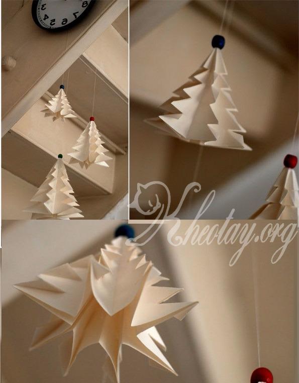 Cách gấp cây thông Noel bằng giấy dễ thương