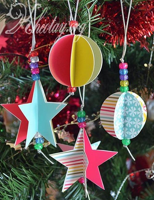 Cách làm đồ trang trí cây thông Noel bằng giấy đơn giản