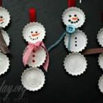 Cách làm người tuyết Noel từ nắp chai