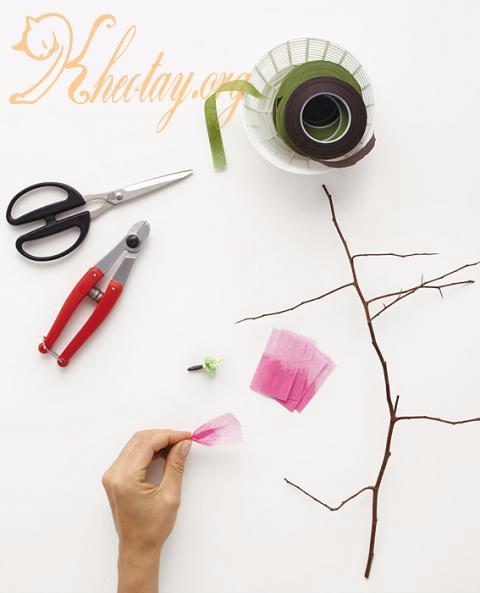 Cách làm cây hoa đào bằng giấy đẹp