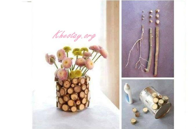 Cách làm lọ hoa handmade đơn giản từ lon sữa