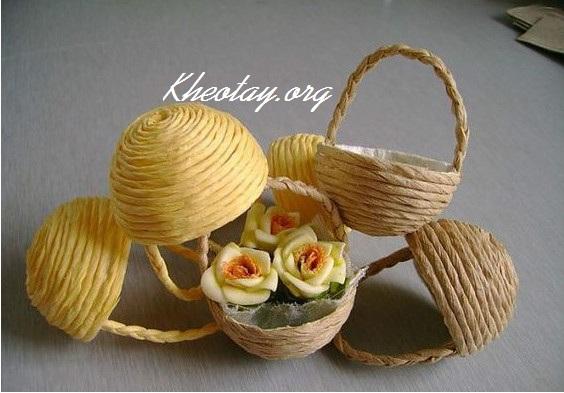 Cách làm đồ handmade đơn giản hình giỏ hoa
