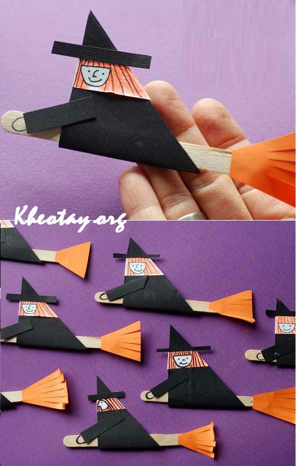 Cách làm đồ trang trí Halloween bằng giấy đơn giản - Phù thủy bay